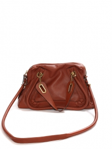 Cognac tan brown grained leather Paraty medium cross body bag Retail price €1450