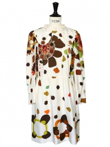 Seventies floral print ecru silk dress with peter pan collar Retail price 1500€ Size 36