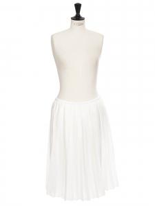 Jupe midi taille basse en voile plissé blanc Taille 38