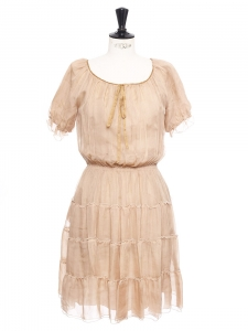 Beige pink silk chiffon short sleeved pleated dress Retail price €1600 Size 36