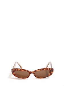 Lunettes de soleil oeil de chat fines ovales écailles marron Prix boutique 160€