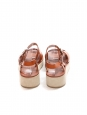 Tan leather and suede low heel wedge sandals Retail price €290 Size 39