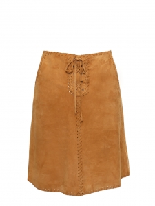 High waist tan brown suede leather braided skirt Retail price €400 Size 38