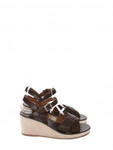 Sandales compensées JUDITH en daim ecru et cuir marron foncé NEUVES Prix boutique 295€ Taille 39