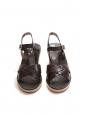 Dark brown leather and ecru beige suede wedge sandals NEW Retail price €295 Size 39