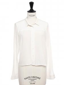 Cropped long sleeves white silk shirt Retail price €260 Size 36