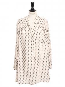 Petite robe ERIN manches longues en crêpe ecru imprimé fleuri Prix boutique 190€ Taille 36/38