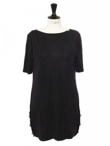 Robe manches courtes col rond en cupro gris anthracite et boutons argent Taille 38