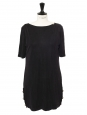 Round neck short sleeves dark grey cupro dress Size 38