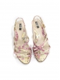 Light yellow and pink flower print patent leather flat sandals Retail price €350 Size 37.5