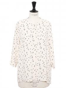 Top chemise manches 3/4 en crêpe ecru imprimé noir Prix boutique 125€ Taille 40