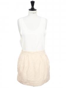 Mini jupe taille haute en damassée rose poudre Taille 36