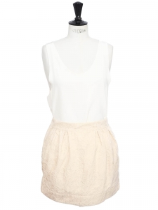 Powder pink damassé cotton high waist mini skirt SIze 36