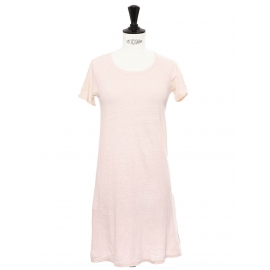Robe manches courtes col rond en lin rose clair Taille XS