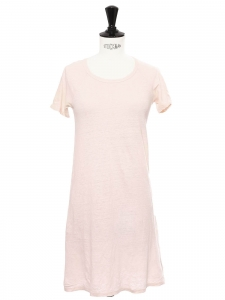 Short sleeves round neckline light pink linen dress Size XS