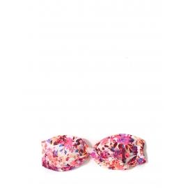 Maillot de bain bikini bandeau imprimé fleuri rose blanc bleu et bordeaux Taille 38