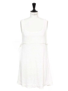 Large straps white linen deep décolleté beach dress Retail price €500 Size 38/40
