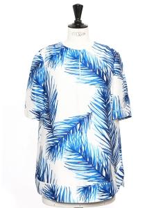 Blouse manches courtes en gazar de soie imprimé palmiers bleu et blanc Px boutique 320€ Taille 36