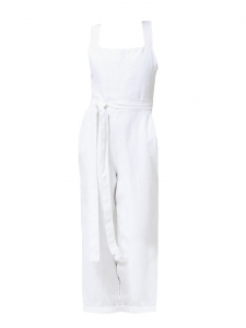 Salopette pantalon SHORE JUMPSUIT dos bretelles croisées en lin blanc Prix boutique 160€ Taille S