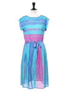 Robe longue manches courtes à rayures bleu turquoise bleu et rose Taille 38