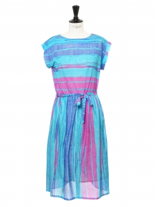 Turquoise, blue and pink striped mid-length short sleeves dress Size 38