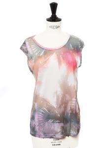 T-shirt manches courtes en coton imprimé tropical palmier blanc gris rose et mauve Taille 36