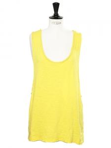 Top débardeur échancré BIGY en coton jaune soleil Px boutique 115€ Taille 40