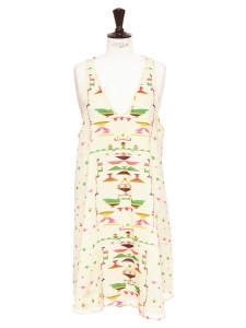 Ethnic printed ecru cotton racerback sleeveless dressRetail price €220 Size 36/38