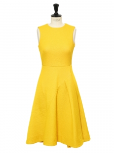 Bright yellow mid-length cinched and flared dress Size 36
