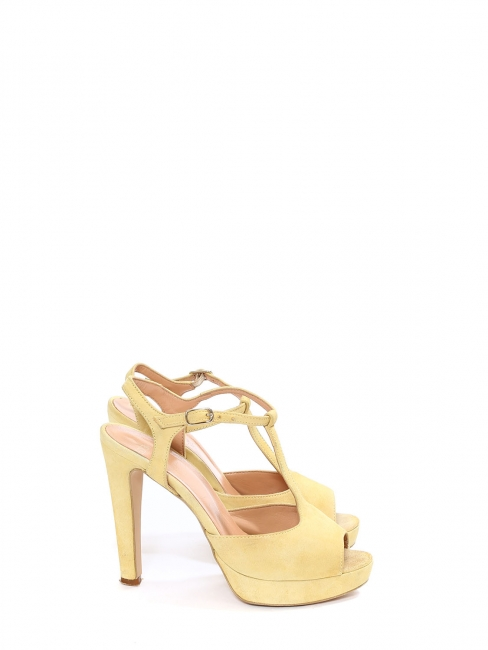 Light yellow suede leather heel sandals with ankle strap Size 37
