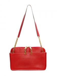 Sac LUCY porté épaule en cuir rouge rubis Px boutique 2500€ Grand modèle
