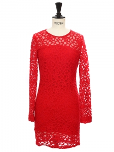 Kawai Harlem long sleeves red lace overlay dress Retail price €500 Size 34