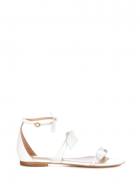 Mike white leather knotted bow flat sandals Retail price €540 Size 41