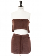 Brown cotton-terry bath top and skirt Size 38