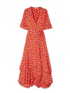 Robe BIG APPLE longue en crêpe rouge fleuri blanc Prix boutique 468€