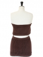 CHLOE Brown cotton toweling bath top and skirt Size 38
