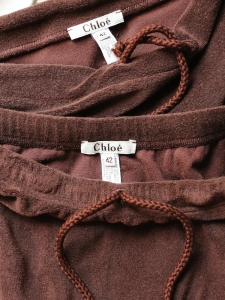 Brown cotton toweling bath top and skirt Size 38