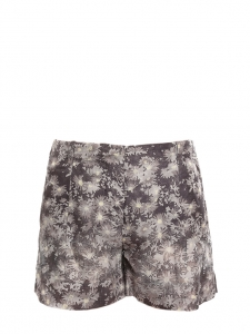 Grey and cream floral printed silk shorts Retail price €450 Size 36