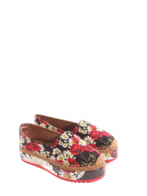 Flower printed brocade platform espadrilles NEW Retail price €639 Size 36