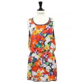 Multicolore floral print silk sleeveless mini dress Retail price €450 Size 38