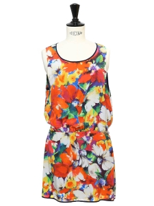 Multicolore floral print silk sleeveless mini dress Retail price €450 Size 38