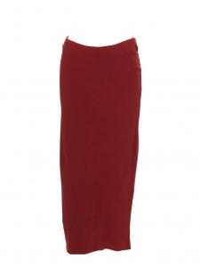 Jupe longue en jersey côtelé rouge bordeaux Taille 36