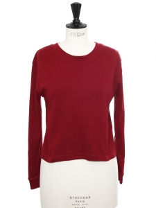 Pull sweat court en coton rouge cerise Taille 36