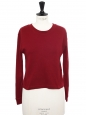 Cherry red cotton cropped crew neck sweater Size 36