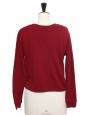 Pull sweat court en coton rouge cerise Taille 36
