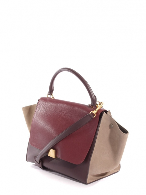 TRAPEZE medium handbag with strap in burgundy red leather and beige suede Retail price €2200