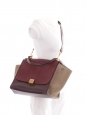 Medium size TRAPEZE handbag with strap in burgundy red grained leather and beige suede Retail price €2200