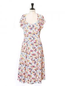 Robe longue manches courtes imprimé fleuri rouge, vert, jaune, bleu et blanc Taille 36/38
