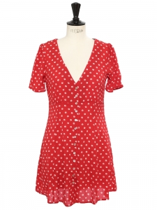Robe manches courtes décolleté V rouge imprimé fleuri blanc et petits boutons Taille 36