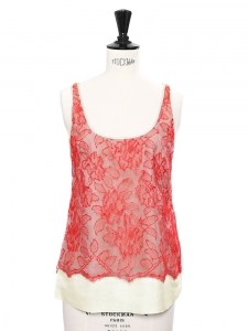 Bree bright red floral lace and light yellow silk top Retail price $1040 Size XS